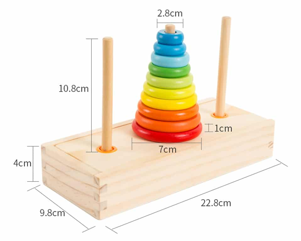 Size and Color Recognition Learning Pyramid Toy